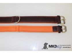 Halsband aus Softleder braun/orange